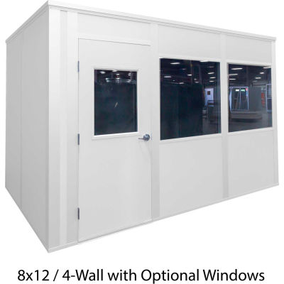 Porta-King Inplant Office, White Vinyl Int & White Stl Ext, 12x12, 4-Wall,Class A Fire & STC27 Sound