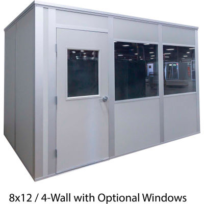 Porta-King Inplant Office, Gray Vinyl Int & Ext, 10x10, 4-Wall, Class A Fire & STC31 Sound