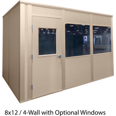 Porta-King Inplant Office, Beige Vinyl Int & Beige Stl Ext, 10x12, 4-Wall,Class A Fire & STC27 Sound