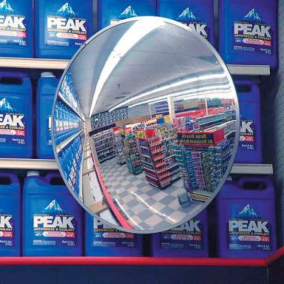 "Round Acrylic Convex Mirror, Indoor, 18"" Dia., 160° Viewing Angle"