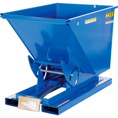 Steel Self-Dumping Forklift Hopper W/ Bump Release, 3 Cu. Yd., 2000 Lbs. Cap., Blue