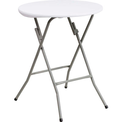 "Flash Furniture 24"" Round Folding Plastic Table, White"