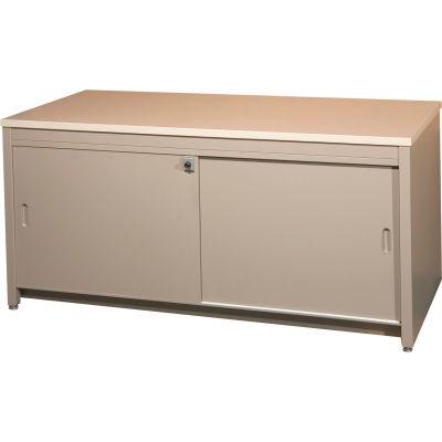 """84""""W Console Table w/ Doors, Sapelli Mahogany Laminate Top Medium Gray Finish"""