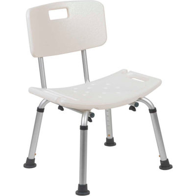 Flash Furniture Hercules Series Adjustable Height Bath Chair with Back, White