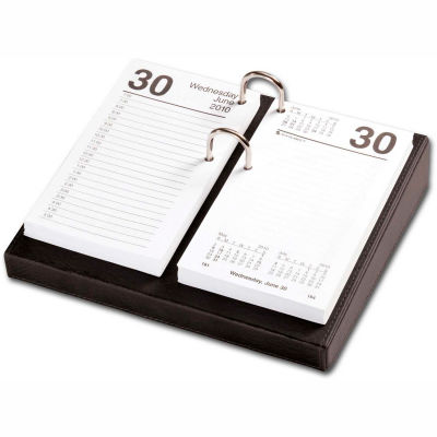 "DACASSO® Classic Black 3.5"" x 6"" Calendar Holder with Silver Accents"