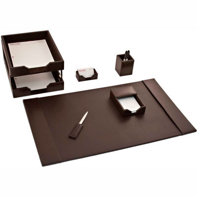 DACASSO® Brown Leather 8-Piece Econo-Line Desk Set