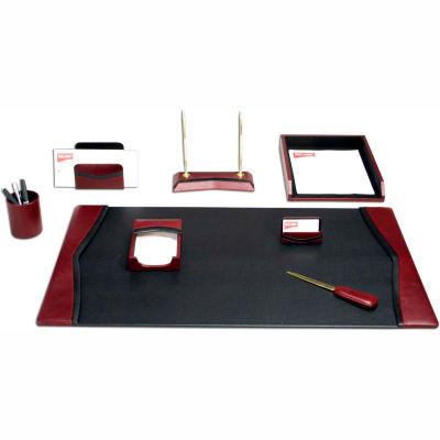 DACASSO® Burgundy Contemporary Leather 8-Piece Desk Set