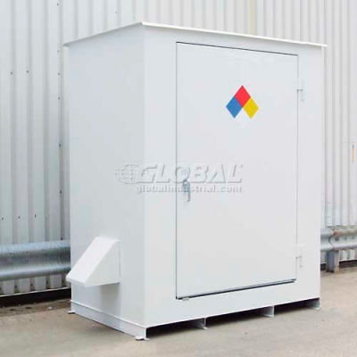 """Denios N-Series 8'W x 4' 10""""D x 8' 2""""H, Non-Combustible Outdoor Storage Building For 2 Drums"""
