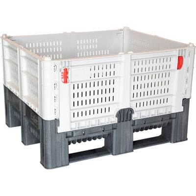"""Decade DFC Quick Assembly Folding Container Vented Wall 48""""L x 40""""W x 29""""H 1650 lb Capacity Gray"""
