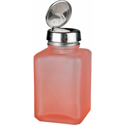 Menda 35381 Square Pink Frosted Glass Liquid Dispenser with One-Touch Pump, 6 oz.