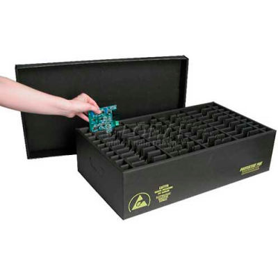 Protektive Pak 37268 ESD In-Plant Handle Container w/Fixed Dividers & Lid Cell Size 10x6-1/2x1 - Pkg Qty 5