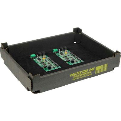 "Protektive Pak ESD Mini Stackable and Nesting Tek-Tray 37752 - 12-1/4""L x 8-15/16""W x 2""H, Black"