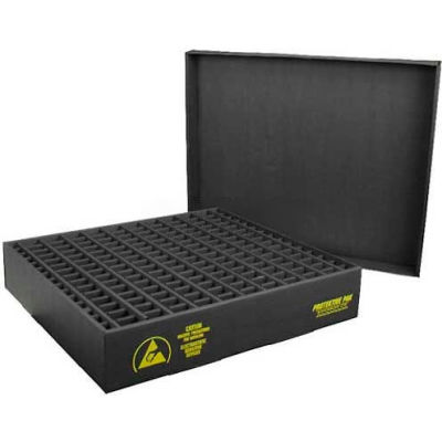 Protektive Pak 38707 ESD In-Plant Handler Adj. Dividers & Lid, 21 Cells, Cell Size 4 x 5-3/4 x 2-1/4 - Pkg Qty 5
