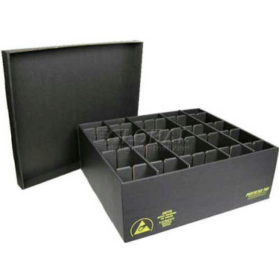 Protektive Pak 38803 ESD In-Plant Handler Adj. Dividers & Lid, 50 Cells, Cell Size 8 x 1-3/4 x 3-1/2 - Pkg Qty 5
