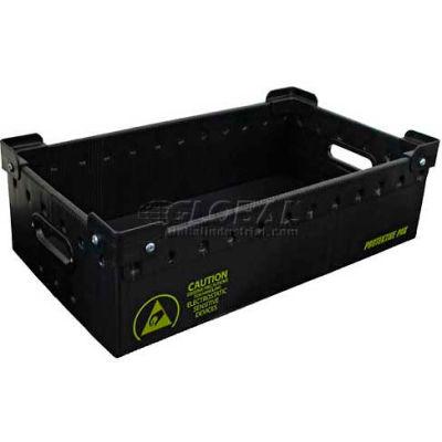 """Protektive Pak 39181 Plastek Conductive Stackable Storage Container, 23-7/8""""L x 13-7/8""""W x 12-7/8""""H - Pkg Qty 5"""