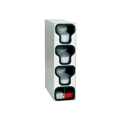 Dispense-Rite® Counter Vertical Lid & Straw Organizer - 3 Sections, SS