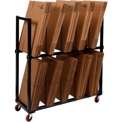 "Dehnco 2 Tier Carton Rack w/ 8 Dividers, 54-1/2""L x 18""W x 52""H, Black & White"