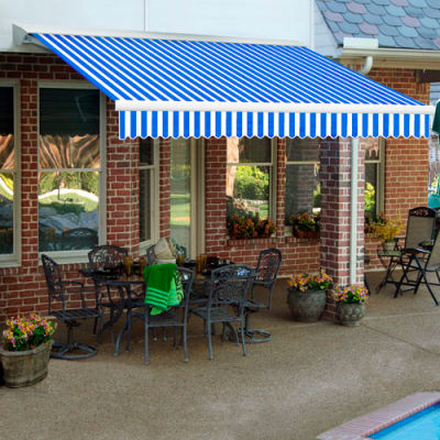 """Awntech DTR24-12-BBW, Retractable Awning Right Motor 24'W x 10'D x 10""""H Blue/White"""