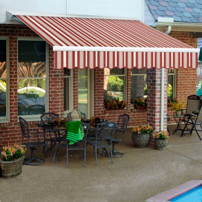 "Awntech DTR12-355-BGW, Right Motor Retractable Awning 12'W x 10'D x 10""H Burgundy/Gray/White"
