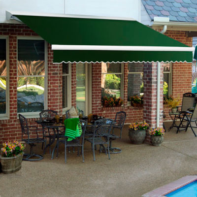 """Awntech DTR12-72-F, Right Motor Retractable Awning 12'W x 10'D x 10""""H Forest Green"""