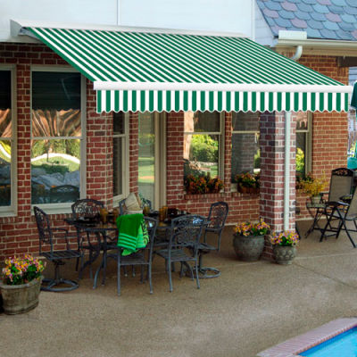 "Awntech DM16-19-FW, Retractable Awning Manual 16'W x 10'D x 10""H Forest Green/White"