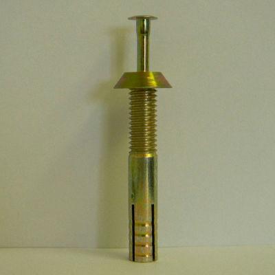 "Tamper-Proof Security Anchor - 1/2 x 3-1/2"" - Reversible Head - Carbon Steel - Yellow Zinc - 50 Pk"