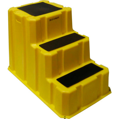 """3 Step Nestable Plastic Step Stand - Yellow 25-3/4""""W x 42""""D x 29""""H - NST-3-14"""