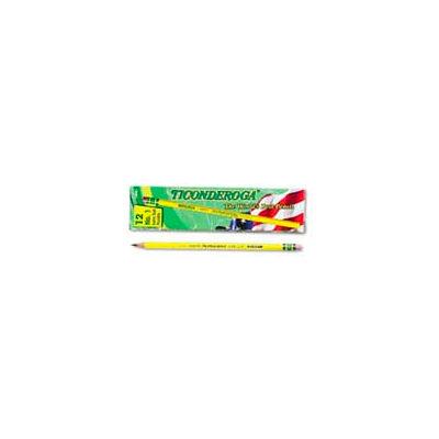 Dixon Ticonderoga Yellow Pencil, Woodcase, #1, Black Lead, 12-Pack