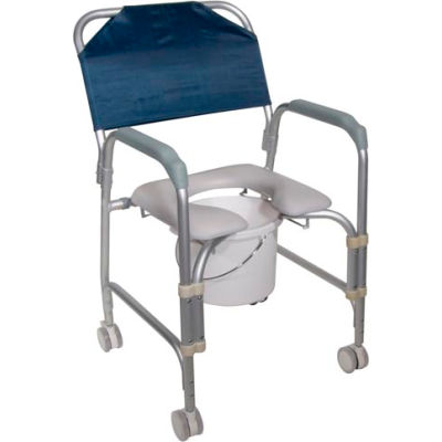 """Drive Medical Aluminum Shower Chair and Commode with Casters, 16""""W x 16""""D Seat"""