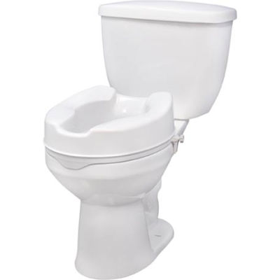 "Drive Medical RTL12064 Raised Toilet Seat with Lock, Standard Seat, 4"" Height"