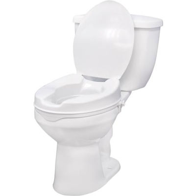 """Drive Medical 12065 Raised Toilet Seat with Lock and Lid, Standard Seat, 4"""" Height"""