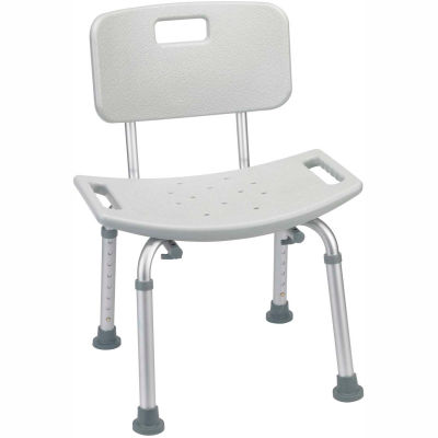 Deluxe Aluminum Bath Chair with Back, Gray