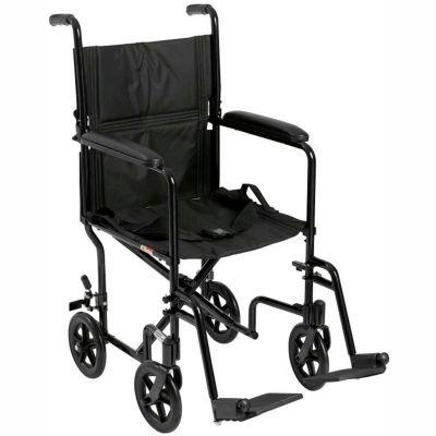 """Lightweight Aluminum Transport Wheelchair, Black Frame, 17"""" Seat Width"""
