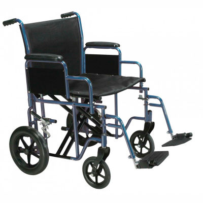 "Drive Medical BTR20-B Bariatric Heavy Duty Transport Wheelchair, 20"" Seat Width, Blue Frame"