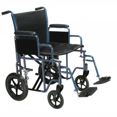 "Drive Medical BTR22-B Bariatric Heavy Duty Transport Wheelchair, 22"" Seat Width, Blue Frame"