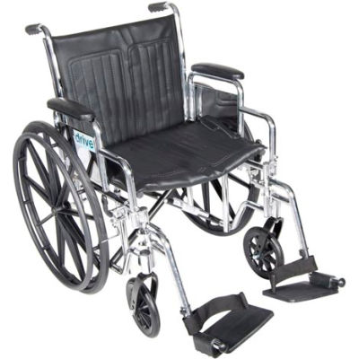 "Drive Medical Chrome Sport Wheelchair, Detachable Desk Arms, Swing-away Footrests, 18"" Seat"