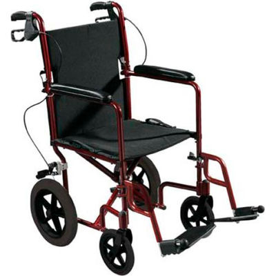 Lightweight Expedition Aluminum Transport Chair with Seat Belt, Red Frame