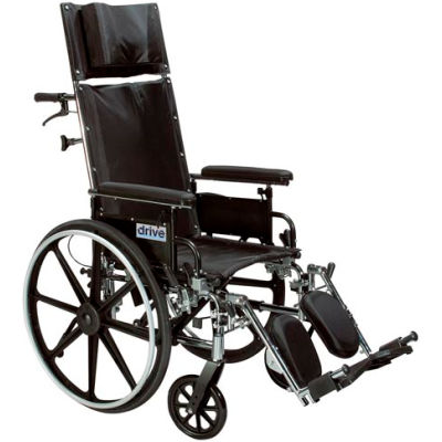"""Viper Plus Reclining Wheelchair, Elevating Leg Rests and Flip Back Detachable Arms, 14"""" Seat"""