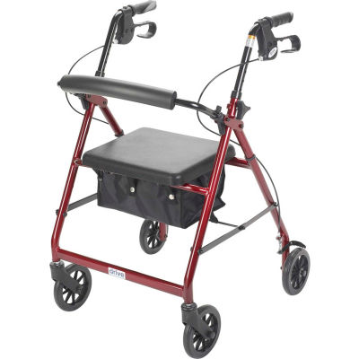 """Aluminum Rollator with 6"""" Casters, Fold Up and Removable Back Support, Padded Seat, Red"""