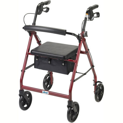 """Aluminum Rollator with 7.5"""" Casters, Red"""