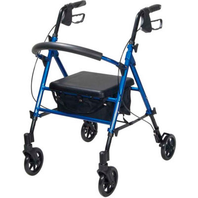 "Adjustable Height Rollator with 6"" Casters, Blue"