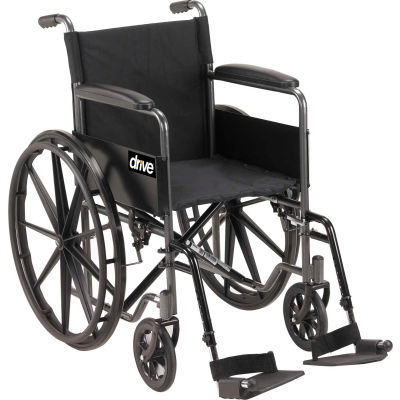 """Silver Sport 1 Wheelchair with Full Arms and Swing-away Footrests, 18"""" Seat"""