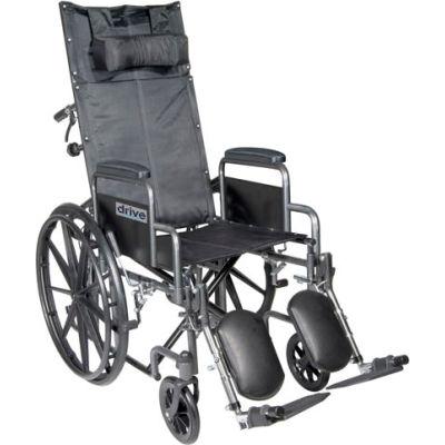 "18"" Silver Sport Full-Reclining Wheelchair, Detachable Desk Arms, Elevating Legrests"