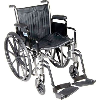 """Silver Sport 2 Wheelchair, Detachable Desk Arms, Swing-away Footrests, 20"""" Seat"""