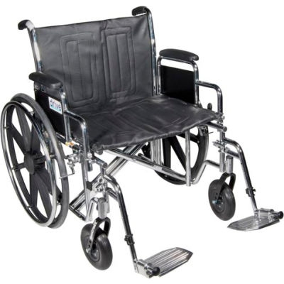 "24"" Sentra Extra Heavy Duty Wheelchair, Detachable Desk Arm, Swing-away Footrests"