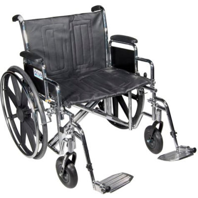"24"" Sentra EC Heavy Duty Wheelchair, Detachable Full Arm, Dual Cross Brace, Elevating Legrests"