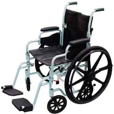 """Poly-Fly High Strength Lightweight Wheelchair/Transport Chair Combo, 18""""W Seat, Silver Frame"""