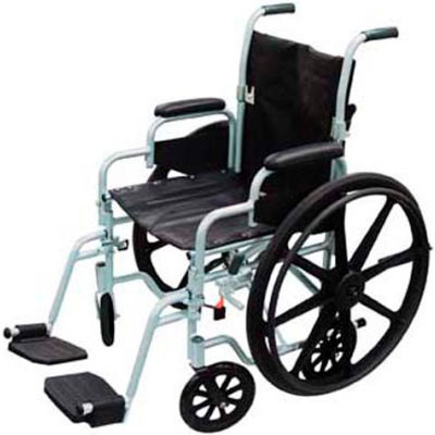 """Poly-Fly High Strength Lightweight Wheelchair/Transport Chair Combo, 20""""W Seat, Silver Frame"""