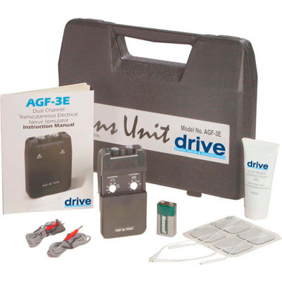 Drive Medical Portable Economy Dual Channel TENS with Electrodes & Carry Case AGF-3E