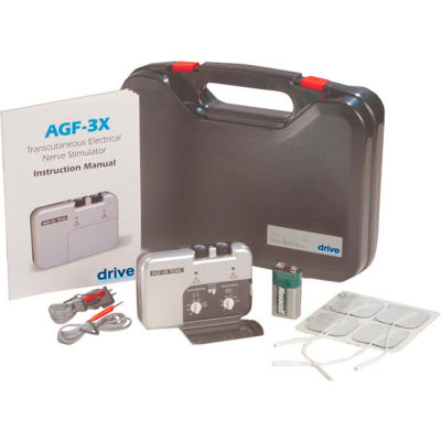 Drive Medical Portable Dual Channel TENS Unit with Electrodes and Carry Case AGF-3X